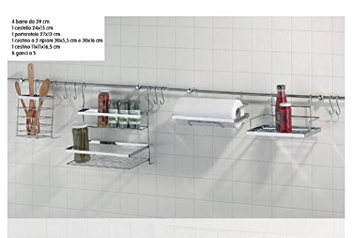 BARRA SOTTOPENSILE ORGANIZER PER CUCINA pz.14 CROMATO EVA COLLECTION ...