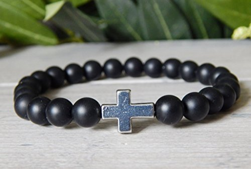 Mens Beaded Cross Bracelet with Matte Black Onyx Gemstone Beads Spiritual Religious (Gemstone Religious Cross)
