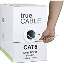 Cat6 Riser (CMR), 1000ft, White, 23AWG 4 Pair Solid Bare Copper, 550MHz, ETL Listed, Unshielded Twisted Pair (UTP), Bulk Ethernet Cable, trueCABLE
