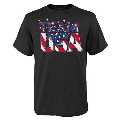 USOC Team USA Star Team Short Sleeve Tee, Medium (10-12), Black