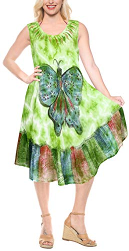 LA LEELA Women's Beach Summer Casual Elegant Party Dress US 4-14W Green_V23