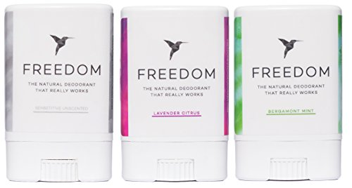 Freedom All Natural Deodorant Aluminum Free Odor Protection Tested & Loved: Cancer Survivors, Busy Execs, Military, Athletes, Healthy Moms & Kids 3pk Travel Minis (Lavender, Mint, Unscented .35oz ea)