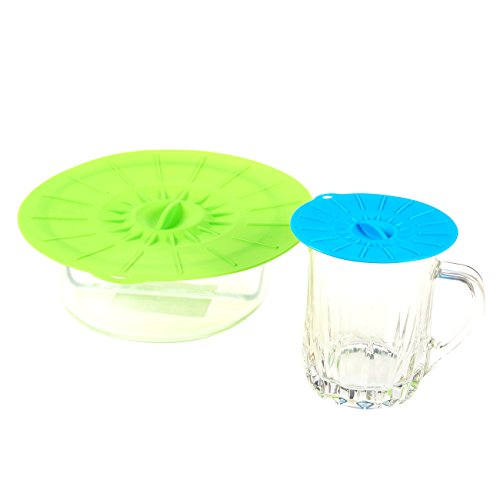 6 Pack Silicone Suction Lids Various Size Reusable Lily Pad Food Containers, Pots, Pans, Salad Bowl Covers - Multicolored