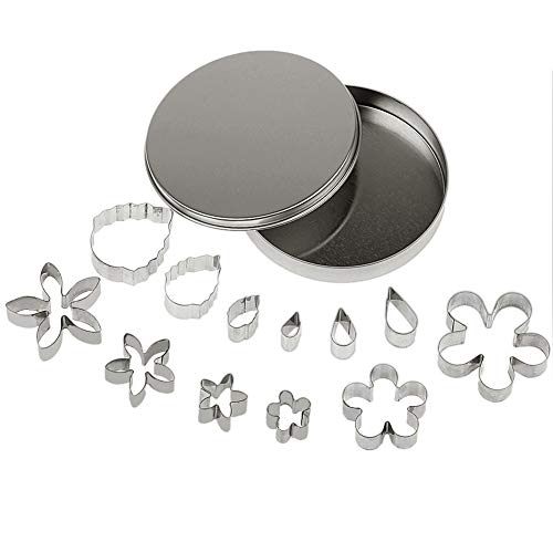 Yunko 12 Pcs Small Stainless Steel Flower & Leaf Cutter Set Cookie Fondant Cutter Cake DIY Tools ()