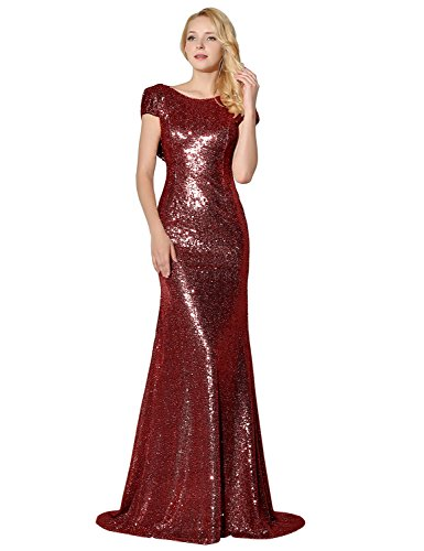 Belle House Short Sleeve Long Evening Dresses for Women Formal Weddings Mermaid Prom Dresses Burgundy Sequins 2018 Ball Gown Bridesmaid Dresses