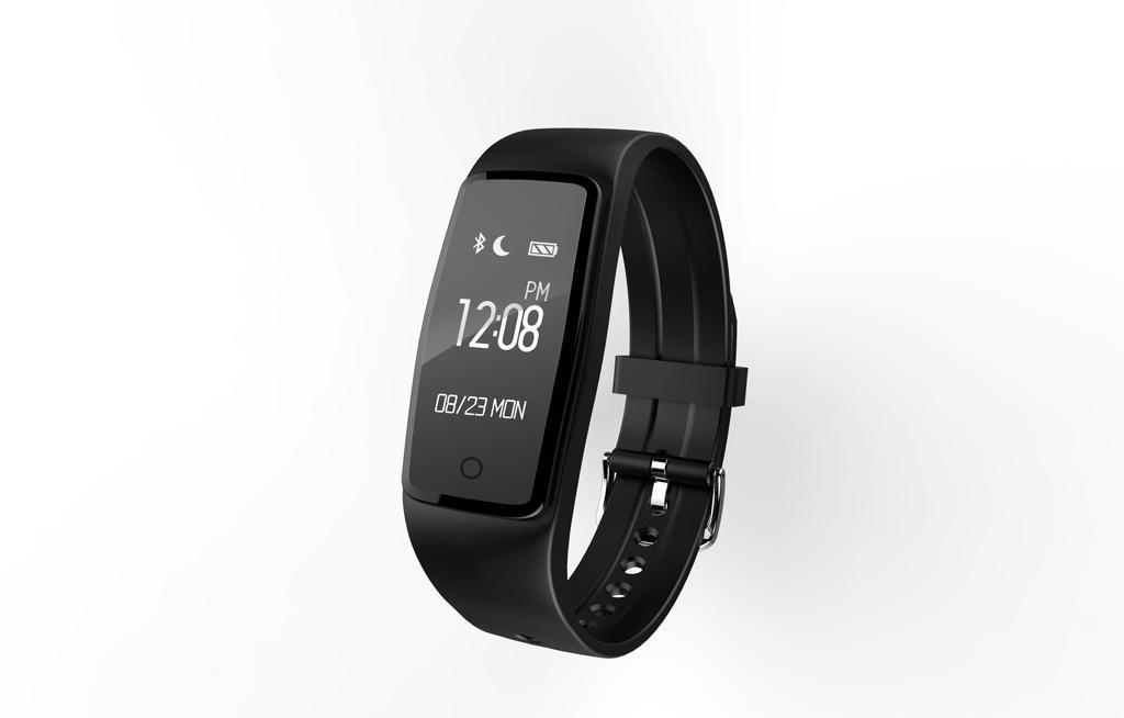 Moda Bluetooth pulsera inteligente pantalla táctil deportes de marcha anillo sueño monitor IP67 pulsera impermeable , black