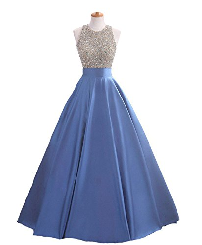 HEIMO Women's Sequins Keyhole Back Evening Ball Gown Beaded Prom Formal Dresses Long H095 14 Blue
