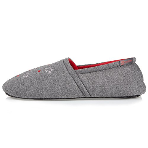 Isotoner Chaussons Slippers Femme Broderies Chat Gris