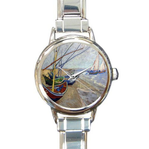 New Year Gifts/Thanksgiving Gifts Van Gogh Painting Fishing Boats Steel Round Italian Charm - Italian Boat Charm