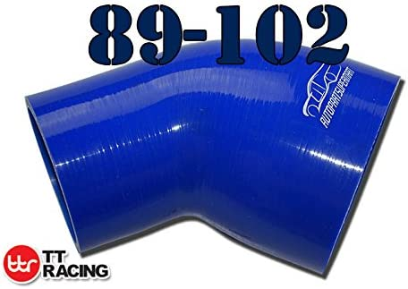 2.25-3 76mm 4-ply Silicone Joiner 45 Degree Bend Reducer Elbow Turbo Hose Blue 57mm
