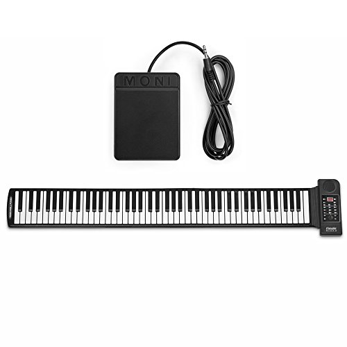 Flexzion Portable Roll Up Piano – Digital Electronic Keyboard with 88 Keys Soft Silicone Flexible Foldable Key Sheet Built-in Speaker and Sustain Pedal Supports USB MIDI Output
