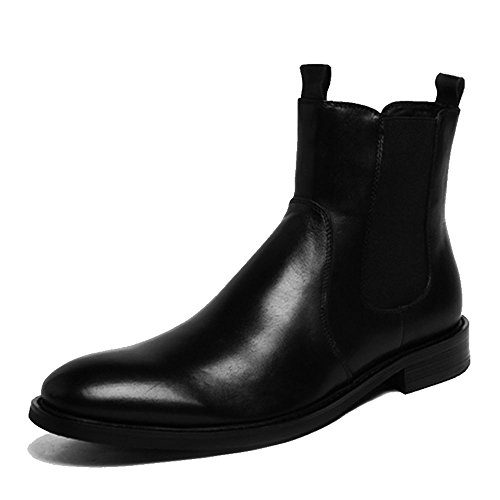 Men Genuine Leather Slip on Business Leather Shoes Retro Round Toe Chelsea Boots (9.5, Black) by Fulinken