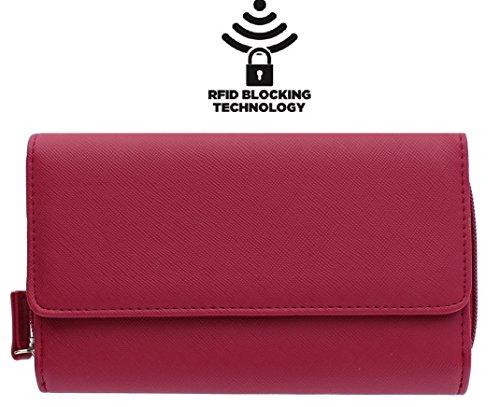 MUNDI Big Fat Womens RFID Blocking Wallet Clutch Organizer With Change Pocket (RASPBERRY)