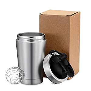 Shake Bottle 18oz Stainless Steel Exgreem Top Insulated Water Bottle Protein mixing cup - Holds Ice for more 30+ Hours (18 oz)