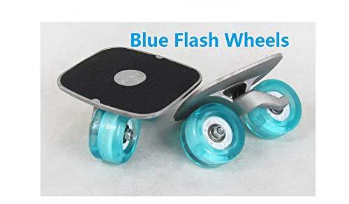 DOHUYEN 2019 Portable Drift Board for Freeline Roller Road Driftboard Skates Anti-Skid Skate Board Skateboard Sports (Blue Flash Wheels)