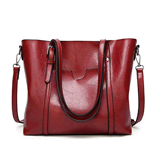 (Love & Freedome Women bag Oil wax Women's Leather Handbags Luxury Lady Hand Bags With Purse Pocket Women messenger bag Big Tote Sac Bols,Burgundy)
