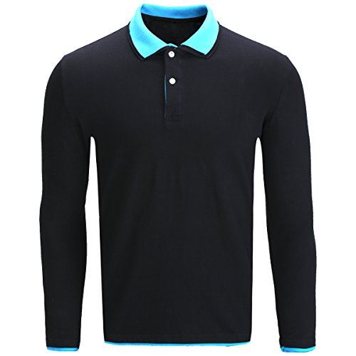 Amoretu Classic Casual Long Sleeve Golf Polo Shirts for Men (Blue, M) - Sleeve Youth Pique Polo