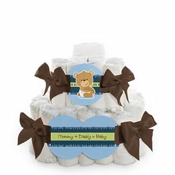 Amazon.com: Boy bebé oso – 2 niveles para tartas de pañales ...