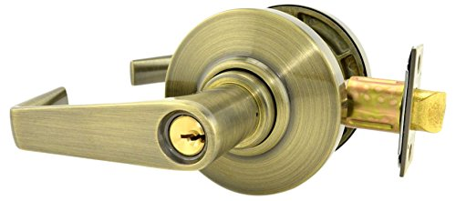 Schlage commercial AL53SAT609 AL Series Grade 2 Cylindrical Lock, Entry Function Turn/Push Button Locking, Saturn Lever Design, Antique Brass Finish by Schlage Lock Company
