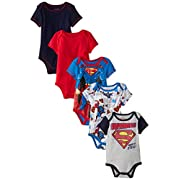 Warner Brothers Baby Baby-Boys Newborn Boy Superman 5 Pack Creeper, Blue, 6-9 Months