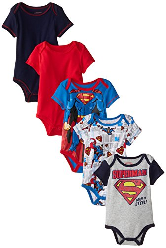 Warner Brothers Baby Baby-Boys Newborn Boy Superman 5 Pack Creeper, Blue, 6-9 Months (Infant Onesie Creeper)