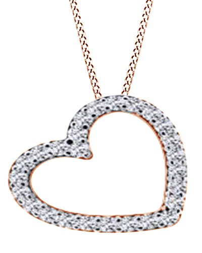 AFFY Round Cut White Natural Diamond Slanted Heart Pendant Necklace In 14k Rose Gold (0.45 Cttw) (Necklace Heart Pendant Slanted)