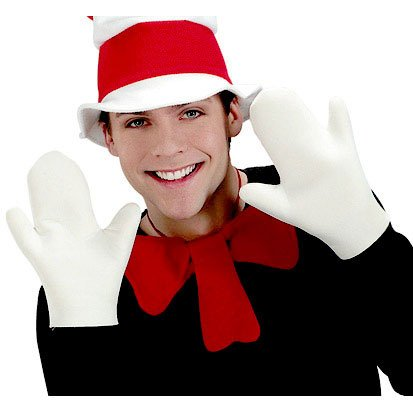 Adult Cat in the Hat White Costume Gloves - Hat White Costumes Gloves