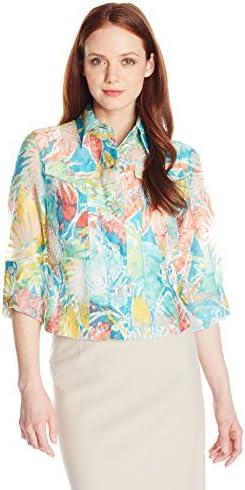 Womens Petite Size Ikat Print Burnout Shirt Jacket Ruby Rd