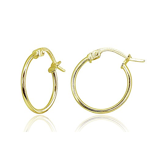 Hoop 15mm Gold Earrings - Yellow Gold Flashed Sterling Silver Tiny Small 15mm High Polished Round Thin Lightweight Unisex Click-Top Hoop Earrings