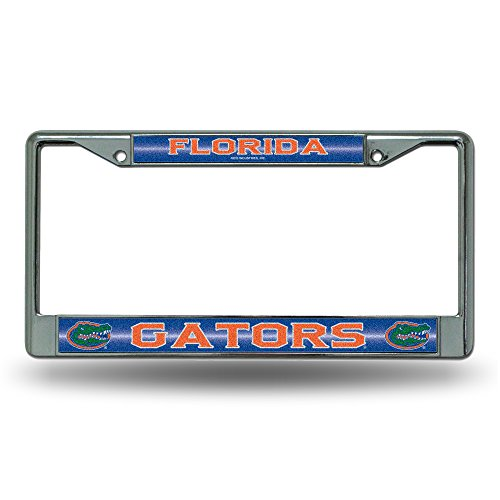 NCAA Florida Gators Bling Chrome License Plate Frame with Glitter Accent (Florida Gators Glitter)