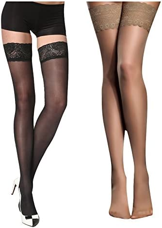 Women's Thigh High Stockings with Silicone Lace Top Sexy Silk Sheer Pantyhose 2 Pack
