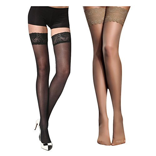 14eaf03f32d 2 · Women s Thigh High Stockings with Silicone Lace Top Sexy Silk Sheer  Pantyhose 2 Pack (Black