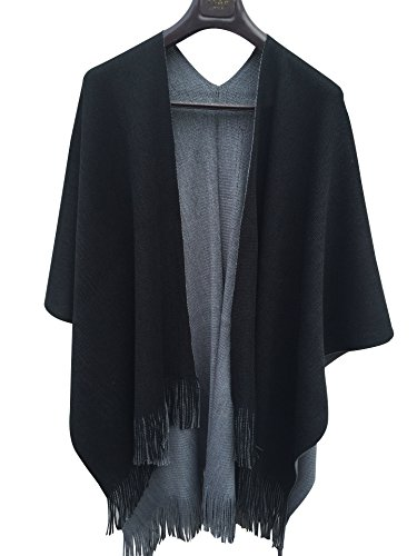 ilishop Women's Winter Knitted Cashmere Poncho Capes Shawl