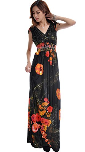 Mordenmiss Women's Sleeveless V-Neck Evening Prom Maxi Dress 4XL Black