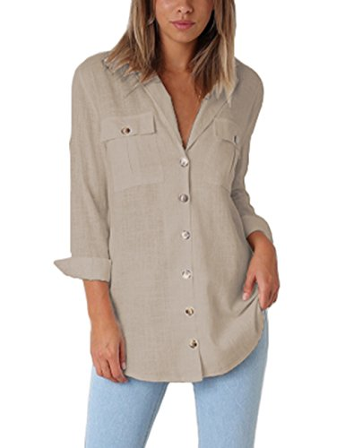 GRAPENT Women's Casual Loose Roll-up Sleeve Blouse Pocket Button Down Shirts Tops L(US 12-14) Khaki
