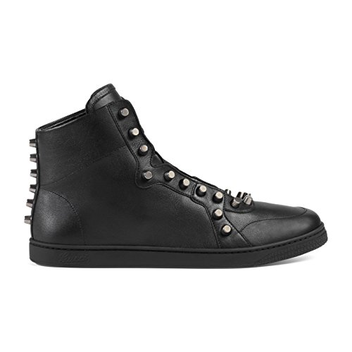 5ab408423 Gucci Men's Black Leather High Top Rivets Sneakers Shoes, Black, US 12 11