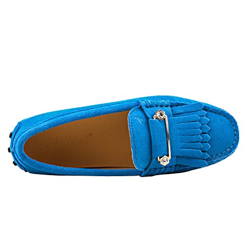 Flats Driving Leather Loafer Shoes Slippers Women's Skyblue Suede Tassel Moccasins Boat Shenduo D7066 qzf1I6cwcS