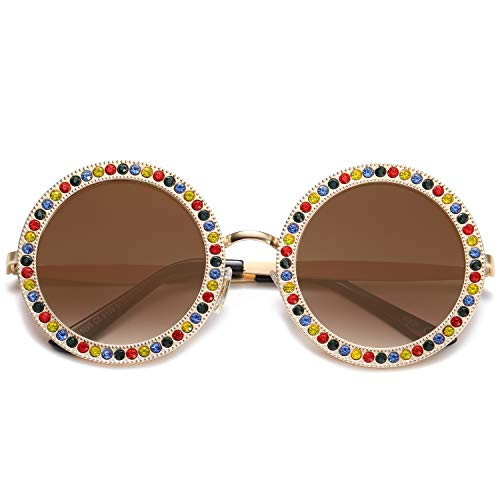 SOJOS Round Oversized Rhinestone Sunglasses for Women Festival Sunglasses SJ1095 with Gold Frame/Gradient Brown Lens with Colored Diamonds from SOJOS