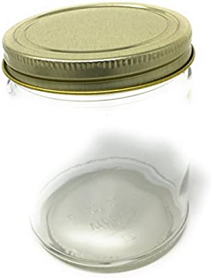 eca0dcb11be0 9 oz Straight Sided Glass Jar with Gold Metal Continuous Thread Lid ...