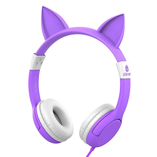 iClever BoostCare Kids Headphones, Cat-inspired Wired On-Ear Headsets with 85dB Volume Limited, Food Grade Silicone Material, 3.5mm Audio Jack Cable, Halloween and Christmas Gift for Children, Purple
