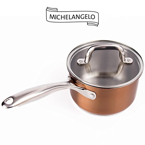 MICHELANGELO 2 Quart Stainless Steel Saucepan with Lid, Small Sauce Pot with Cover, Rose Gold, Induction Compatible