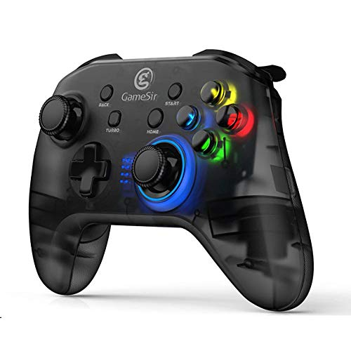 GameSir PC Game Controller T4, Wireless Gaming Controller for Windows 7 8 10, Rechargeable Dual Shock Gamepad Joystick, Semi-Transparent Design with LED Backlight