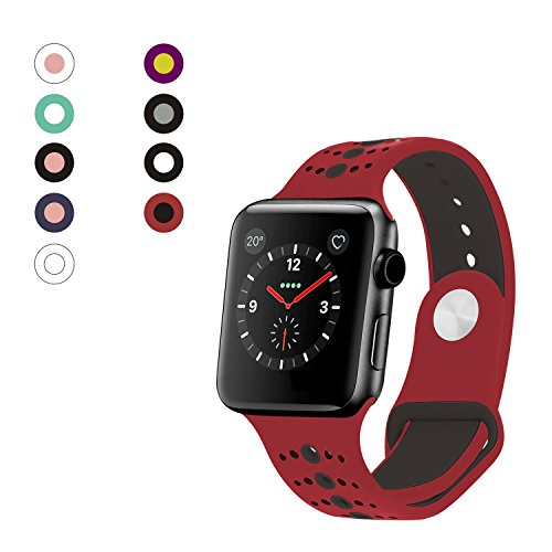 Rockvee Sport Apple Watch Band 38mm 42mm Women Men, Soft Silicone Apple Watch Band Strap Replacement Iwatch Band for Apple Watch Nike+, Series 3, Series 2, Series 1 (C# Red+Black, 42mm) (Series Platinum Red)