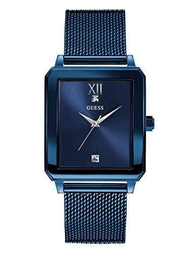 GUESS Men's Stainless Steel Diamond Dial Watch, Color: Blue (Model: U1074G2)