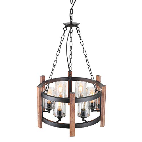 Eumyviv Kitchen Island Orb Wood Chandelier Light with Seeded Glass Shade, Vintage French Country Chandelier Metal Pendant Lamp Industrial Edison Hanging Light Dining Room 6-Lights, Black - Country Chandelier Shades French