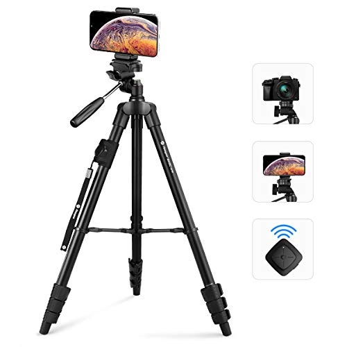 "Fotopro 59"" Camera Tripod, Aluminum Phone Tripod with Bluetooth Remote, GoPro Mount & Smartphone Mount, Travel Tripod for iPhone X, Portable Camera Stand for Canon, Nikon, Samsung, Olympus from Fotopro"