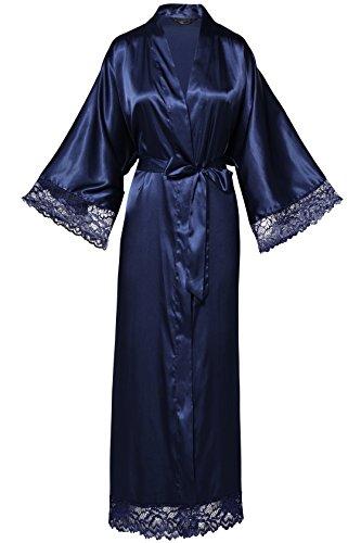 (BABEYOND Womens Satin Kimono Robe Long Bridesmaid Wedding Robes for Bachelorette Party Bath Robe Nightgown Sleepwear with Lace Trim 52