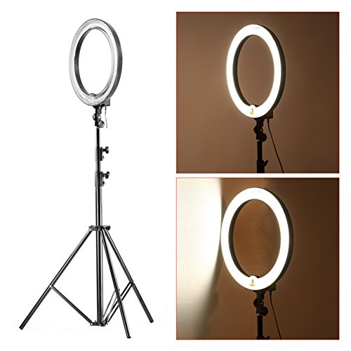 Ring Light Stand Ireland: Neewer 18-inch 75W Dimmable Fluorescent Ring Light With 9