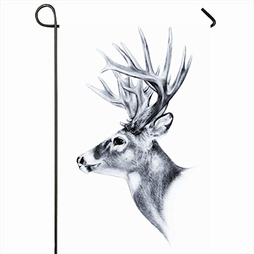- Ahawoso Outdoor Garden Flag 12x18 Inches Prey Head White Tail Deer Big Trophy Antlers Nose Nature Hunt Buck Whitetail Sketch Stag Design Powerful Seasonal Home Decorative House Yard Sign