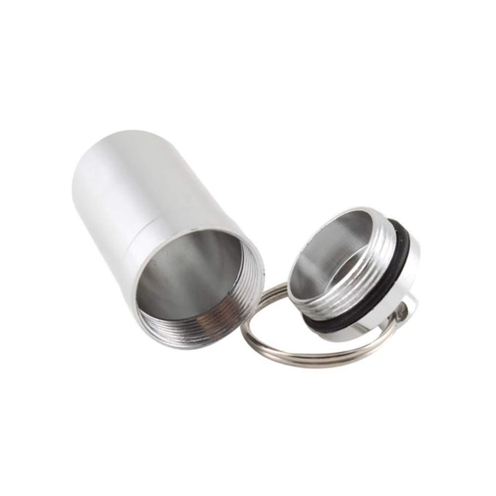 2pcs mini-botella de la medicina llavero de aluminio a prueba de agua de la botella p/íldora del llavero de Drogas Recipiente accesorio del encanto Automotive Celular bolsos llavero colgante del bolso